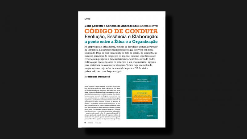 Artigo de Modesto Carvalhosa sobre o livro Código de Conduta: Evolução, Essência e Elaboração