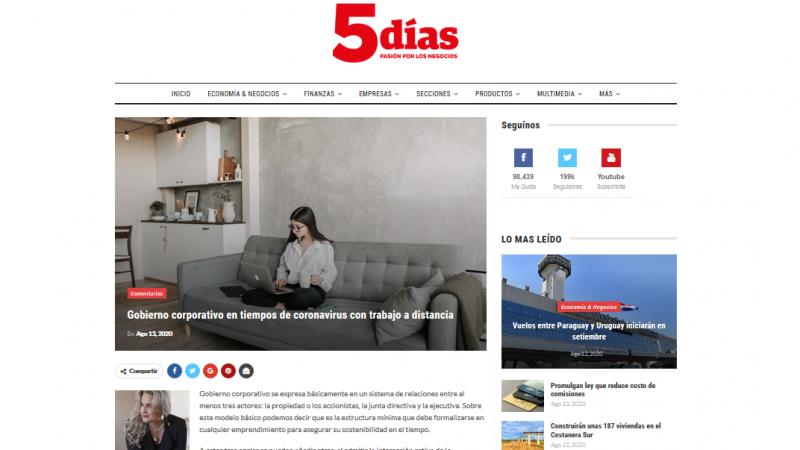 "Artigo ""Gobierno corporativo en tiempos de coronavirus con trabajo a distancia"" no jornal 5 Días"
