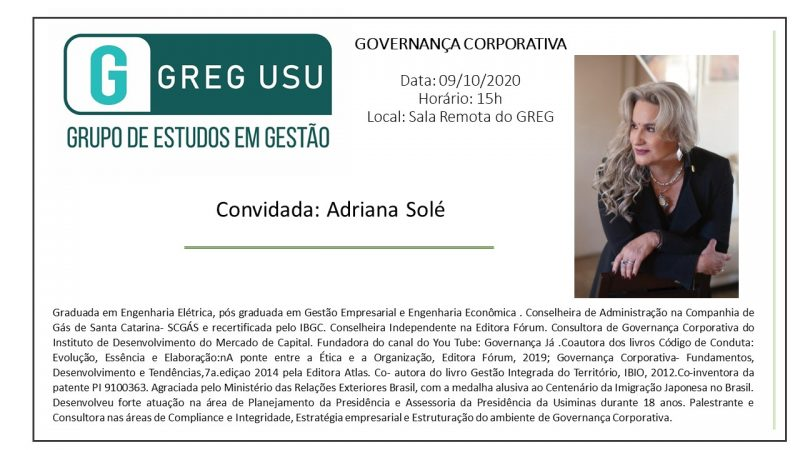 Governança em pauta no Grupo de Estudos em Gestão na Universidade Santa Úrsula