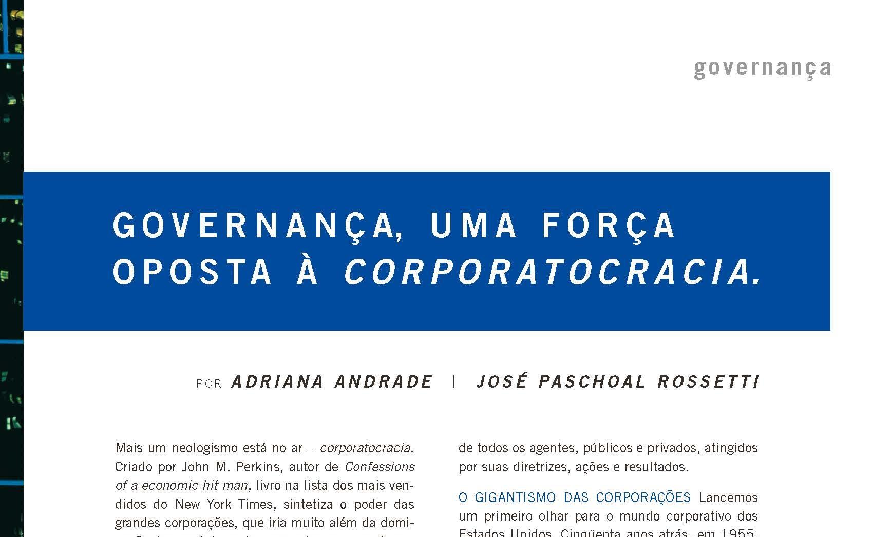Governança, uma força oposta à corporatocracia